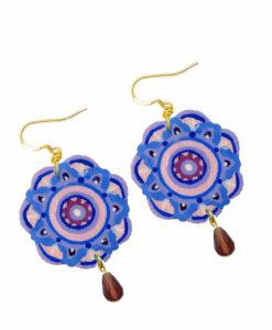 Orecchini dipinti a mano – Mandala rosa