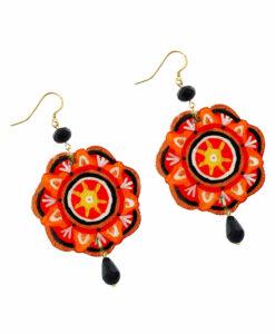 Orecchini dipinti a mano –Mandala rosso