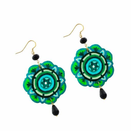 Orecchini dipinti a mano – Mandala verde