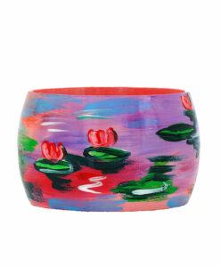 Bracciale dipinto a mano - Le ninfee rosa di Monet
