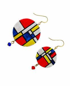 Orecchini dipinti a mano – Composizione in rosso, blu e giallo di Mondrian
