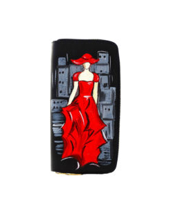 Portafoglio dipinto a mano - Lady in red: