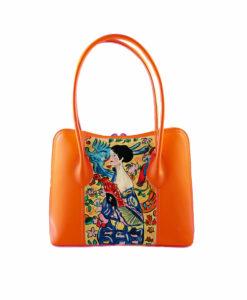 Borsa artigianale in pelle dipinta a mano – Dama con ventaglio di Klimt