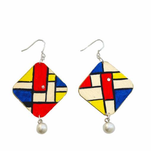 Orecchini dipinti a mano - Composizione in rosso, blu e giallo di Mondrian