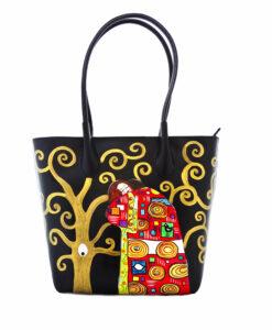 Borsa in pelle dipinta a mano - L'albero della vita di Klimt