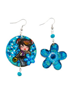 Orecchini dipinti a mano - Kokeshi blue asimmetrici
