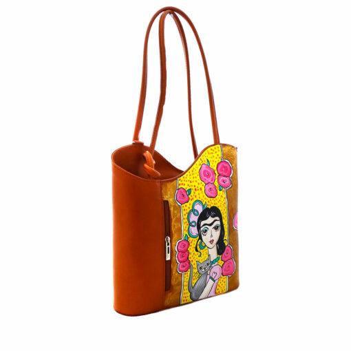 Borsa in pelle dipinta a mano – Adorabile Frida Kahlo