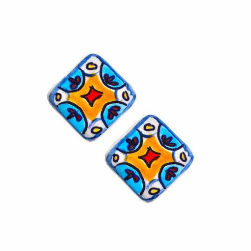 Orecchini in ceramica dipinti a mano – Mattonella Maioliche ceramica azzurra Vietri