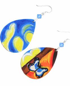 Orecchini dipinti a mano – Paesaggio con Farfalle di Dalì