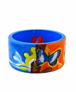 Bracciale dipinto a mano – Paesaggio con farfalle con Dalì